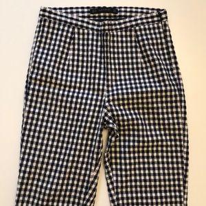 Zara Navy Gingham Pencil Pants Size XS